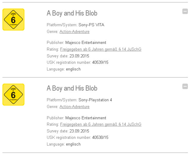 A Boy and His Blob PS Vita PS4 German USK Rating Board