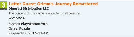 Letter Quest: Grimm's Journey Remastered PS Vita PEGI