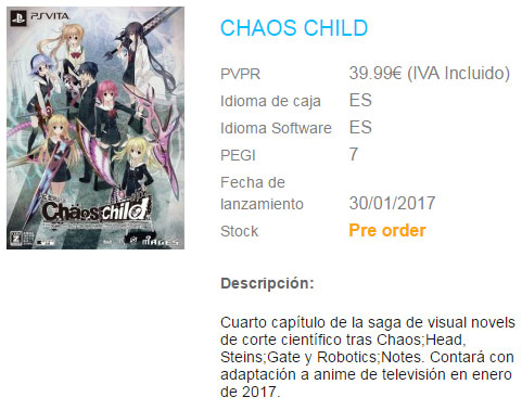 Chaos;Child PS Vita Listing