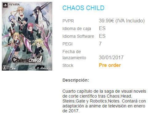Chaos;Child PS Vita Listing