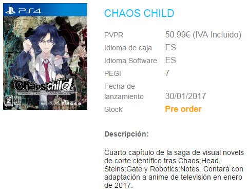 Chaos;Child PS4 Listing