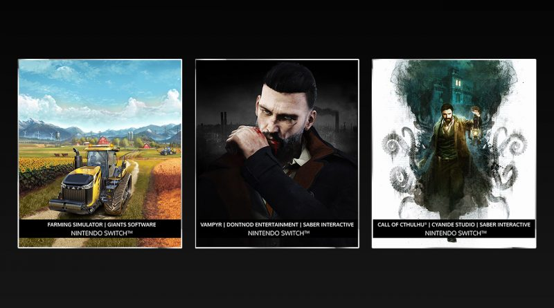 Farming Simulator, Call of Cthulhu Vampyr Nintendo Switch