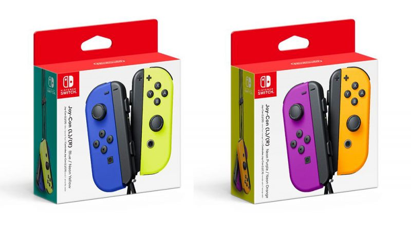 Joy-Con Colors Blue/Neon Yellow and Neon Purple/Neon Orange
